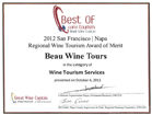 best wine tourism 2012